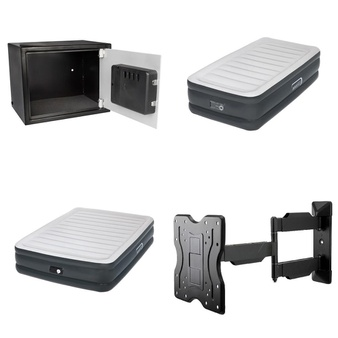 Pallet – 45 Pcs – Safes, Camping & Hiking, Lamps, Parts & Accessories – Customer Returns – Pen + Gear, Aerobed, OmniMount, Samsung