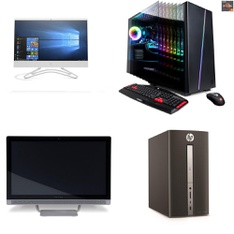 7 Pcs – Desktop & All-In-One Computers – Salvage – HP, CyberpowerPC, LENOVO