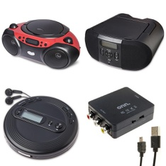 Pallet - 257 Pcs - Accessories, Boombox, Receivers, CD Players, Turntables - Customer Returns - Onn, onn., One For All, GE