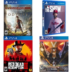 112 Pcs - Sony Video Games - Used, Open Box Like New, New, Like New, New Damaged Box - 47890, Assassin's Creed Odyssey Deluxe Edition PlayStation 4, Mlb: The Show 19 (Playstatio 4), Madden NFL 19 (PS)