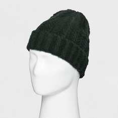 77 Pcs - Goodfellow & Co Men's Fluffy Cable Cuffed Beanie, One Size Green - New - Retail Ready
