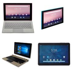 17 Pcs – Tablets – Tested NOT WORKING – EVOO, Onn, Direkt-Tek, Packard Bell