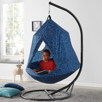 35 Pcs – Member's Mark MM-HTENT-NAVYEC Hangout POD, Kids' Hanging Tent – New – Retail Ready
