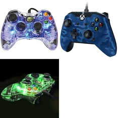 12 Pcs – Microsoft Xbox Controllers – Refurbished (GRADE A) – Models: PL3702BL, Xbox One Wired Controller Blue Camo, PL-3702