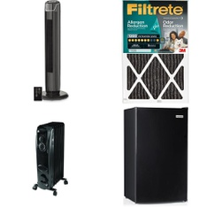 26 Pcs - Heating & Cooling -> Accessories, Heating & Cooling -> Fans, Heating & Cooling -> Heaters, Small Appliances -> Bar Refrigerators & Water Coolers - Customer Returns - Mainstay's, Filtrete, HISENSE