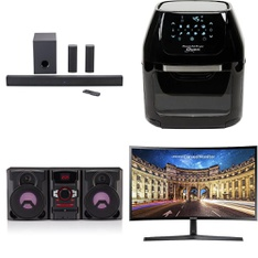 3 Pallets - 81 Pcs - Speakers, Monitors, Receivers, CD Players, Turntables, Portable Speakers - Tested NOT WORKING - Onn, Samsung, Blackweb, Power Air Fryer