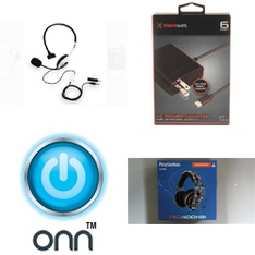 Pallet - 181 Pcs - Video Games - Audio Headsets, Cables & Adapters - Customer Returns - Onn, Plantronics, POWER A, Blackweb