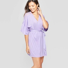 100 Pcs - Gilligan & O'Malley Women's Total Comfort Lace Robe Violet Tulip M/L - New - Retail Ready