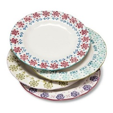 150 Pcs - Abigail Floral Assorted Salad Plate Set 4-pc - Multicolored - New, Open Box Like New, New Damaged Box - Retail Ready