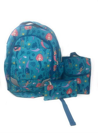100 Pcs – CRCKT Mermaid Backpack Lunch Kit and Accessory Bag-3 Pieces Set – New – Retail Ready