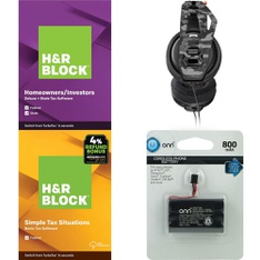 3 Pallets – 1505 Pcs – Other, Accessories, Software, Over Ear Headphones – Customer Returns – Onn, H&R Block, Blackweb, GE