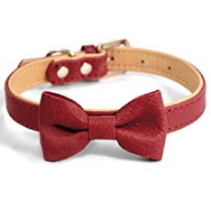 33 Pcs - Martha Stewart Leather Bow Tie Buckle Collar for Dogs - Red Size 16 - New - Retail Ready