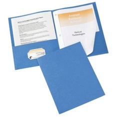 100 Pcs - Licken 13122-PPP 2 Pocket Folder With Prongs Paper Portfolio, Blue - New - Retail Ready