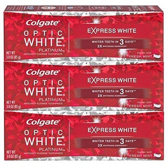 99 Pcs – Colgate Optic White Express White Whitening Toothpaste 3 ounce 3 Pack – New – Retail Ready
