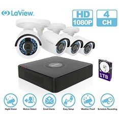 16 Pcs - LaView LV-KT934HS4A5-T1 4CH DVR 1080P 4 Bullet Cameras With 1TB HDD - Black - Refurbished (GRADE A)