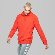 100 Pcs - Original Use Men's Long Sleeve Raw Edge French Terry Hooded Pullover Sweatshirt, Anthem Red, M - New - Retail Ready