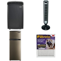 3 Pallets - 37 Pcs - Fans, Refrigerators, Air Conditioners - Customer Returns - Lasko, Filtrete, Thomson, De'Longhi