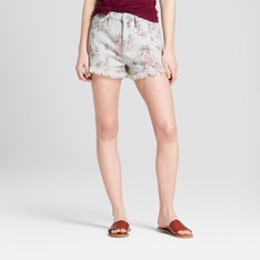 100 Pcs - Mossimo Supply Co. Women's Floral Print High-Rise Jean Shorts - Light Wash, 2 - New - Retail Ready