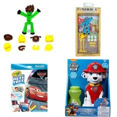 Pallet - 230 Pcs - Action Figures, Dolls, Boardgames, Puzzles & Building Blocks, Vehicles, Trains & RC - Customer Returns - Stikbot, Crayola, Adventure Force, Hasbro