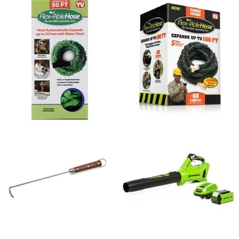 3 Pallets – 141 Pcs – Accessories, Grills & Outdoor Cooking, Other, Leaf Blowers & Vaccums – Customer Returns – GreenWorks, Dansons, Flex Able Hose, Flex