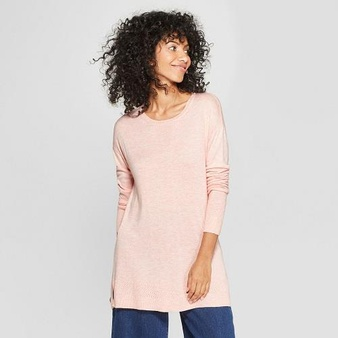 100 Pcs – A New Day Women's Crew Neck Luxe Pullover Sweater Pink S – New – Retail Ready