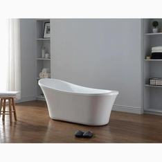 1 Pcs – Ove Decors RUBY-65T Ruby Acrylic Oval Front Center Drain Freestanding Bathtub Gloss White 29-in W x 65-in L – New – Retail Ready