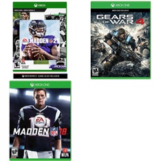 12 Pcs - Microsoft Video Games - New, Used, New Damaged Box - Madden NFL 21 (Xbox One), Madden NFL 18 (Xbox One), Gears of War 4 (Xbox One)