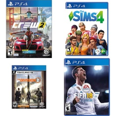 97 Pcs – Sony Video Games – Like New, Used, New – The Crew 2 (PS4), Tom Clancy's The Division 2 (PS4), The Sims 4 – PlayStation 4, FIFA 18 Standard Edition (PlayStation 4)
