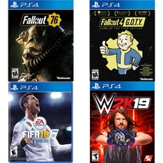150 Pcs - Sony Video Games - New, Used, Like New - Fallout 76(PS4), FIFA 18 Standard Edition (PlayStation 4), Fallout 4 G.O.T.Y Edition, WWE 2K19 (PlayStation 4)