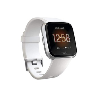 39 Pcs – Fitbit FB415SRWT Versa Smart Watch, One Size (S & L Bands Included) White/Silver Aluminum Lite Edition – Refurbished (GRADE A)