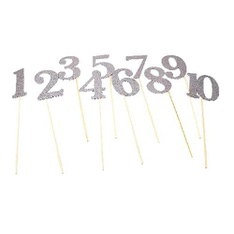 46 Pcs - PaperGala Table Number Wedding Centerpiece Sticks for DIY Reception Decor Silver - New - Retail Ready