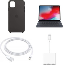 225 Pcs – Apple Accessories – Customer Returns – Models: MD836LL/A, Silicone Case for iPhone 11 Pro Max, Black, Lightning to USB Cable (1 m), MU8G2LL/A