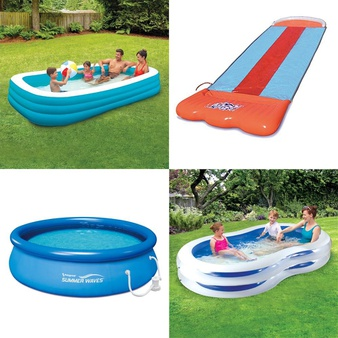 Pallet – 71 Pcs – Pools & Water Fun, Outdoor Sports, Water Guns & Foam Blasters, Not Powered – Customer Returns – Play Day, Nerf, Summer Waves, SwimSchool