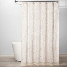 34 Pcs - Threshold Exploded Floral Shower Curtain, White - New - Retail Ready