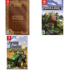 25 Pcs – Nintendo Video Games – Open Box Like New, New, Like New – Octopath Traveler: Wayfarer's Edition (NS), Farming Simulator 20 (NSW) – Nintendo Switch, Minecraft (NS)