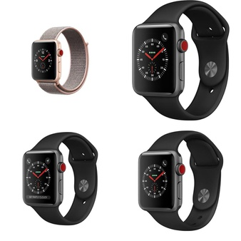 5 Pcs – Apple Watch – Series 3 – 42MM – Cell – Refurbished (GRADE D) – Models: MQK72LL/A, MTGT2LL/A, MQK22LL/A, NQK62LL/A