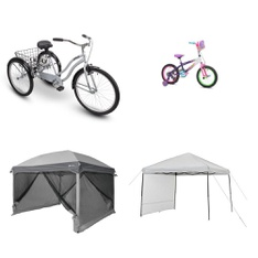 Pallet – 9 Pcs – Cycling & Bicycles, Camping & Hiking – Customer Returns – Ozark Trail, Huffy, Little Miss Matched, Disney Princess