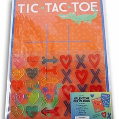 52 Pcs - Bullseye Playground-Valentine's Day Gel Cling Tic Tac Toe and Feed The Hungry Crocodile Activity Games - New - Retail Ready