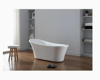 4 Pcs – Ove Decors RUBY-65T Ruby Acrylic Oval Front Center Drain Freestanding Bathtub Gloss White 29-in W x 65-in L – New – Retail Ready