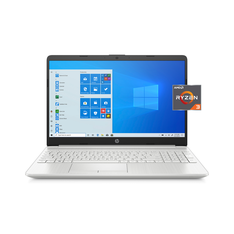 HP 15-gw0010wm 15, AMD Ryzen 3 3250U, 4GB SDRAM, 1TB HDD + 128GB SSD, Natural Silver, Windows 10, 15-gw0010wm (Google Classroom Compatible) - Refurbished