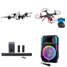 Pallet – 31 Pcs – Drones & Quadcopters Vehicles, Portable Speakers – Tested NOT WORKING – Protocol, Onn, Ion, Vivitar