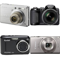14 Pcs - Point & Shoot Cameras - Refurbished (GRADE C) - Models: DSC-S750, FZ43-BLK, L120 - BLK, 1078C001