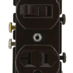 25 Pcs - Leviton 5335 20 Amp, 120 Volt, Duplex Style Combination Single Pole Switch/Receptacle, Grounding, Brown - Used, Like New - Retail Ready