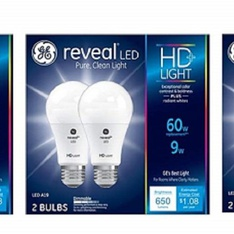 7 Pcs - GE HD+ Reveal 60 Watt Replacement LED Dimmable A19 Light Bulbs (6-Pack) - New - Retail Ready