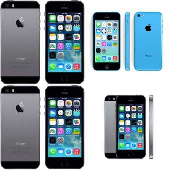 7 Pcs – Apple iPhones – Refurbished (GRADE A, GRADE C – Unlocked) – Models: ME305LL/A, MB503LL/A, ME341LL/A, MD234LL/A