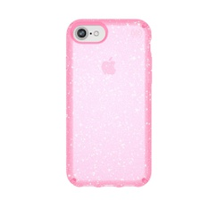 8 Pcs – Speck 117576-6603 Clear & Glitter Cell Phone Case for iPhone 8 Bella Pink with Gold Glitter – New – Retail Ready