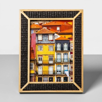 77 Pcs – Opalhouse Natural Wood Overlay Frame W/Woven Bamboo, 5″x7″ Black – New – Retail Ready