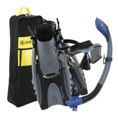 14 Pcs – U.S. Divers Adult Premium Snorkel Set in Dark Blue/Grey, SM/MD – Durable Nylon Durability – New – Retail Ready