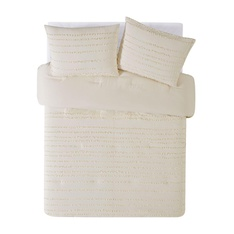 10 Pcs - Rachel Ashwell CS2819AMKG-1506 Textured Stripe Comforter Set, King, Almond Milk - New – Retail Ready