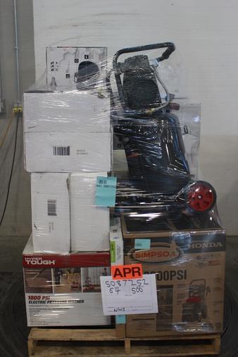 Pallet – 18 Pcs – Power Tools, Pressure Washers, Hardware – Customer Returns – Briggs & Stratton, Onn, GE, Fitueyes
